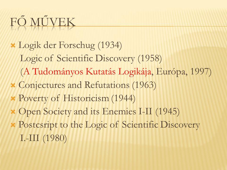  Logik der Forschug (1934) Logic of Scientific Discovery (1958) (A Tudományos Kutatás Logikája, Európa, 1997)  Conjectures and Refutations (1963) 