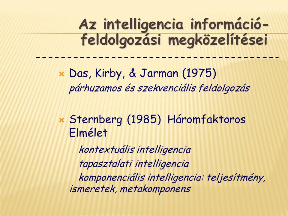  Das, Kirby, & Jarman (1975) párhuzamos és szekvenciális feldolgozás  Sternberg (1985) Háromfaktoros Elmélet kontextuális intelligencia tapasztalati