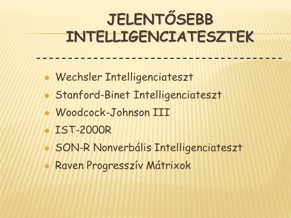 JELENTŐSEBB INTELLIGENCIATESZTEK l Wechsler Intelligenciateszt l Stanford-Binet Intelligenciateszt l Woodcock-Johnson III l IST-2000R l SON-R Nonverbá
