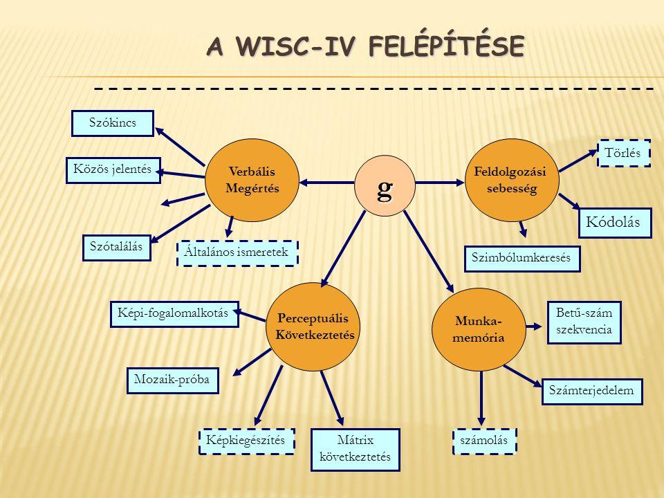 A WISC-IV FELÉPÍTÉSE g Feldolgozási sebesség Verbális Megértés Perceptuális Következtetés Munka- memória Szókincs Közös jelentés Általános ismeretek K