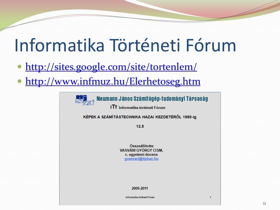Informatika Történeti Fórum http://sites.google.com/site/tortenlem/ http://www.infmuz.hu/Elerhetoseg.htm 11