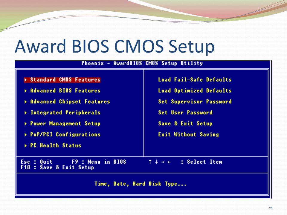 Award BIOS CMOS Setup 21