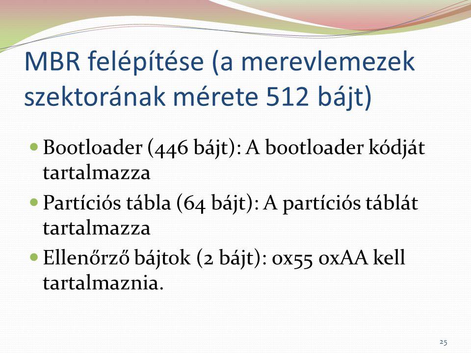 MBR felépítése (a merevlemezek szektorának mérete 512 bájt) Bootloader (446 bájt): A bootloader kódját tartalmazza Partíciós tábla (64 bájt): A partíciós táblát tartalmazza Ellenőrző bájtok (2 bájt): 0x55 0xAA kell tartalmaznia.