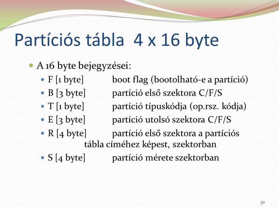 Partíciós tábla 4 x 16 byte A 16 byte bejegyzései: F [1 byte]boot flag (bootolható-e a partíció) B [3 byte]partíció első szektora C/F/S T [1 byte]part