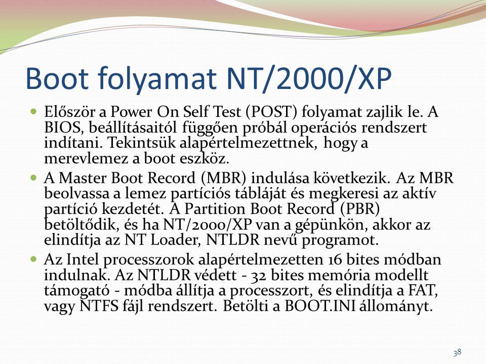 Boot folyamat NT/2000/XP Először a Power On Self Test (POST) folyamat zajlik le. A BIOS, beállításaitól függően próbál operációs rendszert indítani. T
