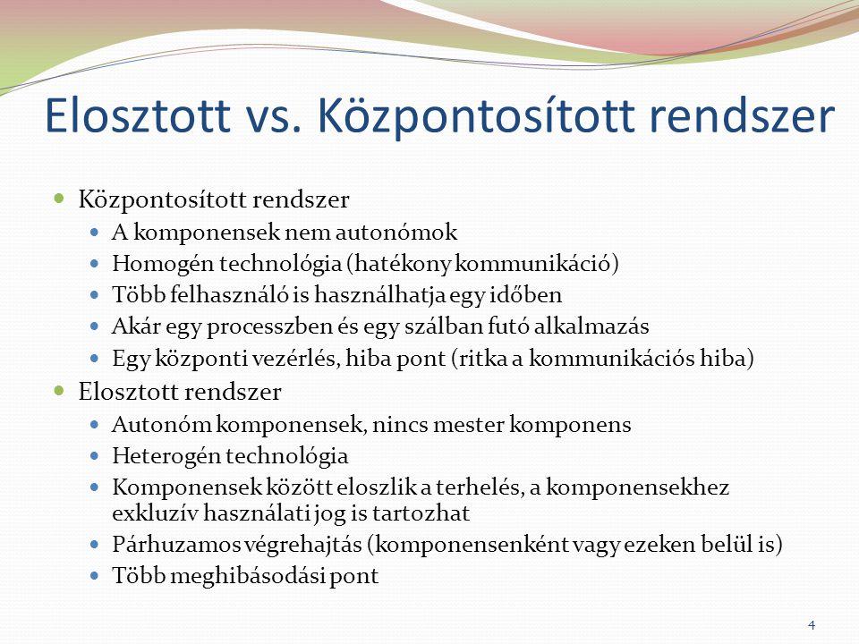 Elosztott vs. Központosított rendszer Központosított rendszer A komponensek nem autonómok Homogén technológia (hatékony kommunikáció) Több felhasználó