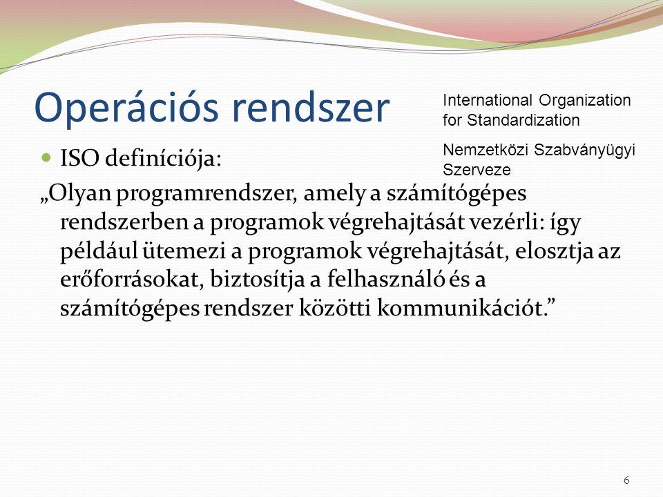 """Operációs rendszer ISO definíciója: """"Olyan programrendszer, amely a számítógépes rendszerben a programok végrehajtását vezérli: így például ütemezi a programok végrehajtását, elosztja az erőforrásokat, biztosítja a felhasználó és a számítógépes rendszer közötti kommunikációt. International Organization for Standardization Nemzetközi Szabványügyi Szerveze 6"""