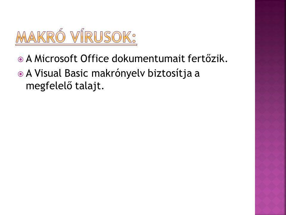  A Microsoft Office dokumentumait fertőzik.  A Visual Basic makrónyelv biztosítja a megfelelő talajt.