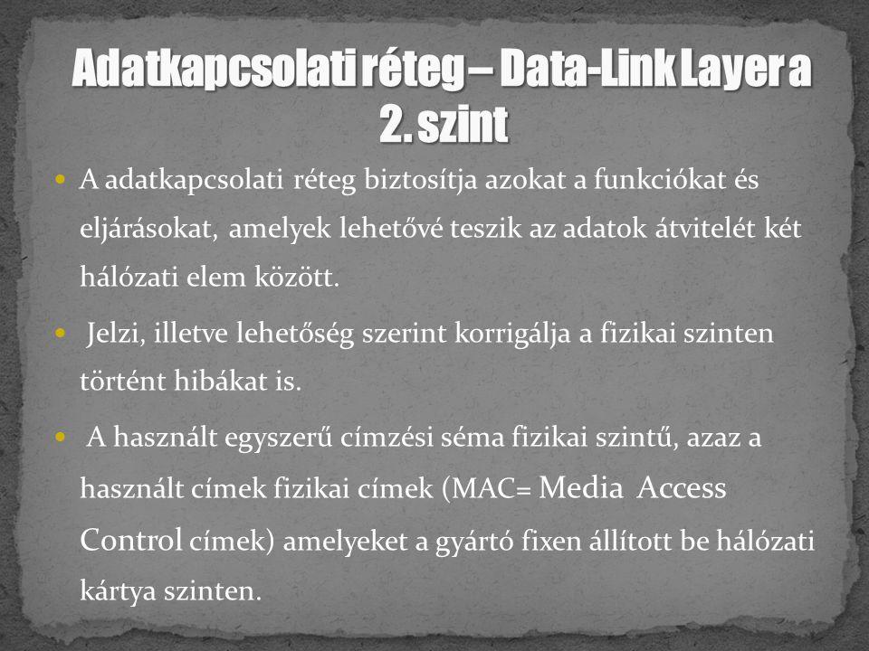A adatkapcsolati réteg biztosítja azokat a funkciókat és eljárásokat, amelyek lehetővé teszik az adatok átvitelét két hálózati elem között. Jelzi, ill