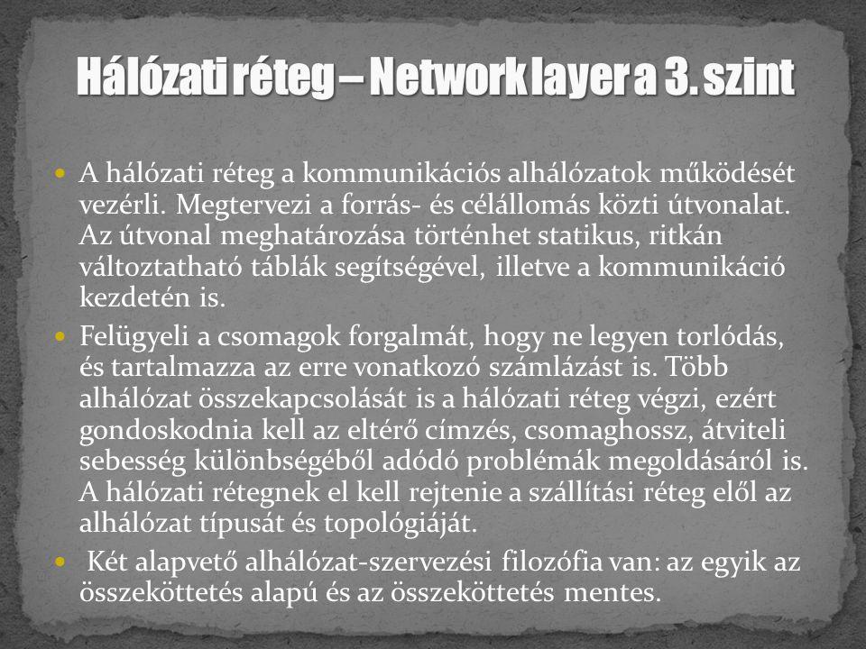 A hálózati réteg a kommunikációs alhálózatok működését vezérli. Megtervezi a forrás- és célállomás közti útvonalat. Az útvonal meghatározása történhet