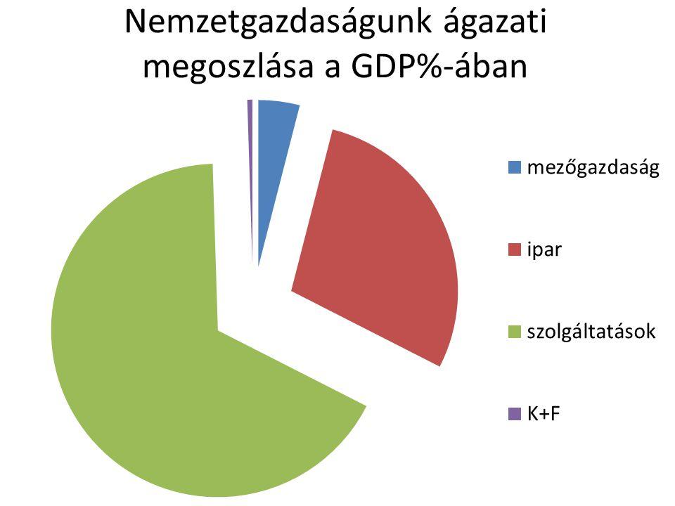 Nemzetgazdaságunk ágazati megoszlása a GDP%-ában