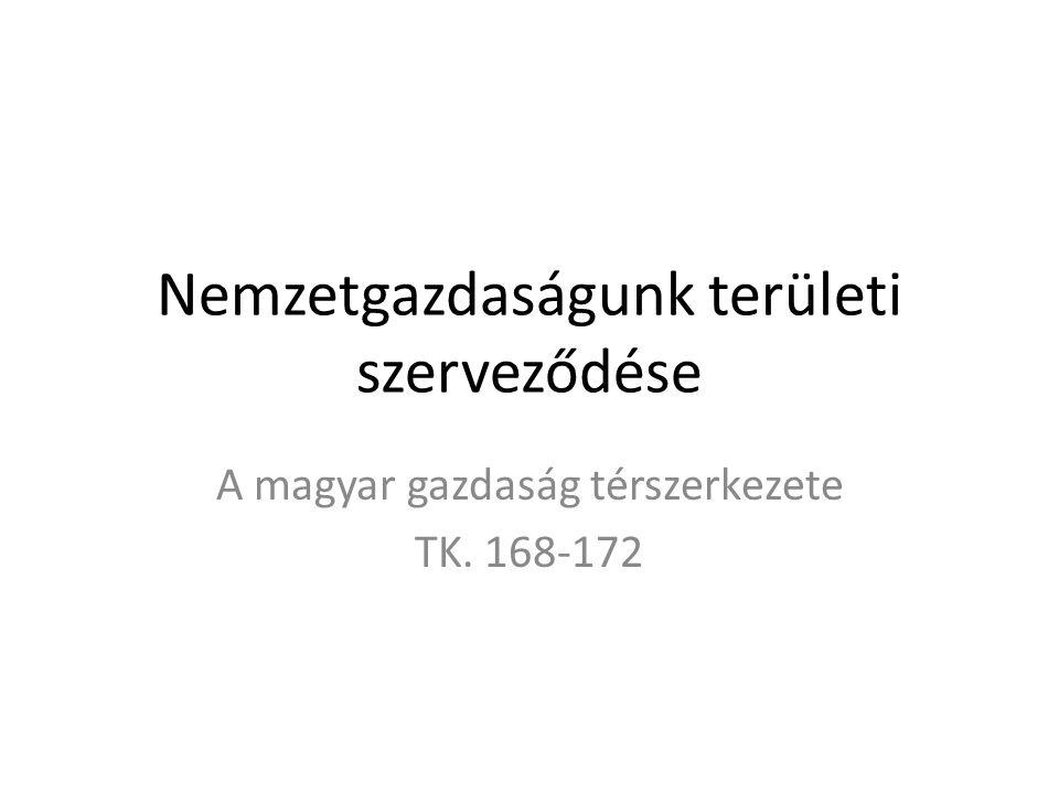 Nemzetgazdaságunk területi szerveződése A magyar gazdaság térszerkezete TK. 168-172
