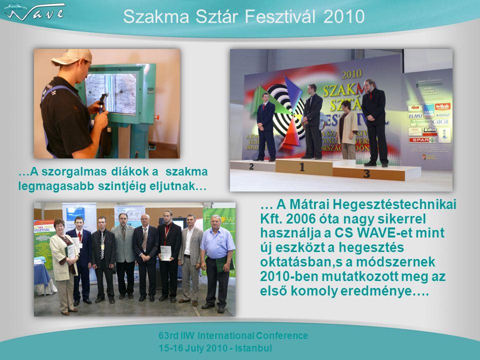 63rd IIW International Conference 15-16 July 2010 - Istanbul Szakma Sztár Fesztivál 2010 … A Mátrai Hegesztéstechnikai Kft. 2006 óta nagy sikerrel has