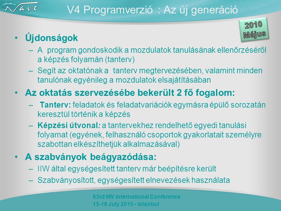 63rd IIW International Conference 15-16 July 2010 - Istanbul V4 Programverzió : Az új generáció Újdonságok –A program gondoskodik a mozdulatok tanulásának ellenőrzéséről a képzés folyamán (tanterv) –Segít az oktatónak a tanterv megtervezésében, valamint minden tanulónak egyénileg a mozdulatok elsajátításában Az oktatás szervezésébe bekerült 2 fő fogalom: – Tanterv: feladatok és feladatvariációk egymásra épülő sorozatán keresztül történik a képzés –Képzési útvonal: a tantervekhez rendelhető egyedi tanulási folyamat (egyének, felhasználó csoportok gyakorlatait személyre szabottan elkészíthetjük alkalmazásával) A szabványok beágyazódása: –IIW által egységesített tanterv már beépítésre került –Szabványosított, egységesített elnevezések használata