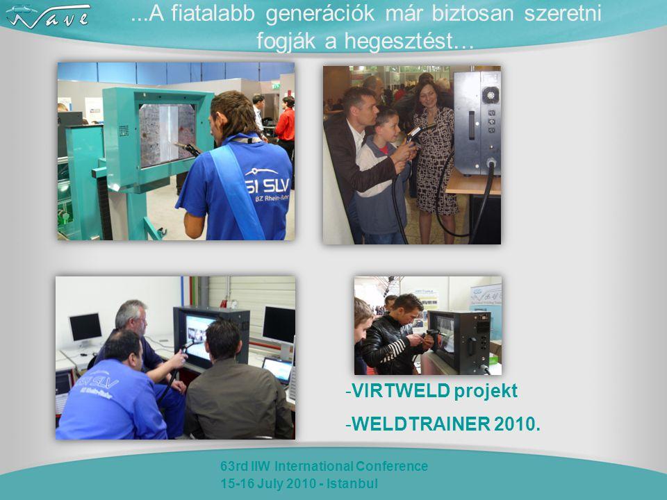 63rd IIW International Conference 15-16 July 2010 - Istanbul...A fiatalabb generációk már biztosan szeretni fogják a hegesztést… -VIRTWELD projekt -WELDTRAINER 2010.