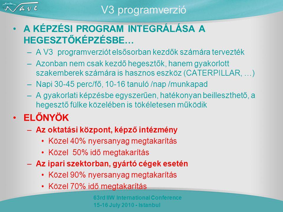 63rd IIW International Conference 15-16 July 2010 - Istanbul V3 programverzió A KÉPZÉSI PROGRAM INTEGRÁLÁSA A HEGESZTŐKÉPZÉSBE… –A V3 programverziót elsősorban kezdők számára tervezték –Azonban nem csak kezdő hegesztők, hanem gyakorlott szakemberek számára is hasznos eszköz (CATERPILLAR, …) –Napi 30-45 perc/fő, 10-16 tanuló /nap /munkapad –A gyakorlati képzésbe egyszerűen, hatékonyan beilleszthető, a hegesztő fülke közelében is tökéletesen működik ELŐNYÖK –Az oktatási központ, képző intézmény Közel 40% nyersanyag megtakarítás Közel 50% idő megtakarítás –Az ipari szektorban, gyártó cégek esetén Közel 90% nyersanyag megtakarítás Közel 70% idő megtakarítás