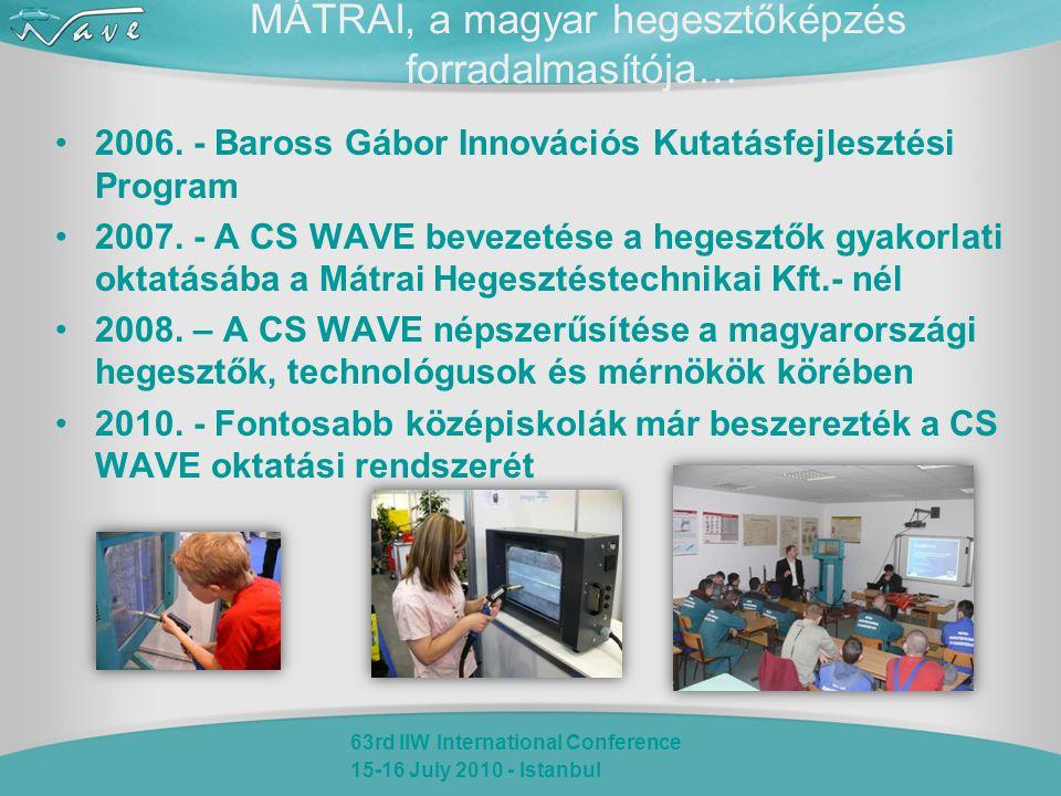 63rd IIW International Conference 15-16 July 2010 - Istanbul MÁTRAI, a magyar hegesztőképzés forradalmasítója… 2006. - Baross Gábor Innovációs Kutatás