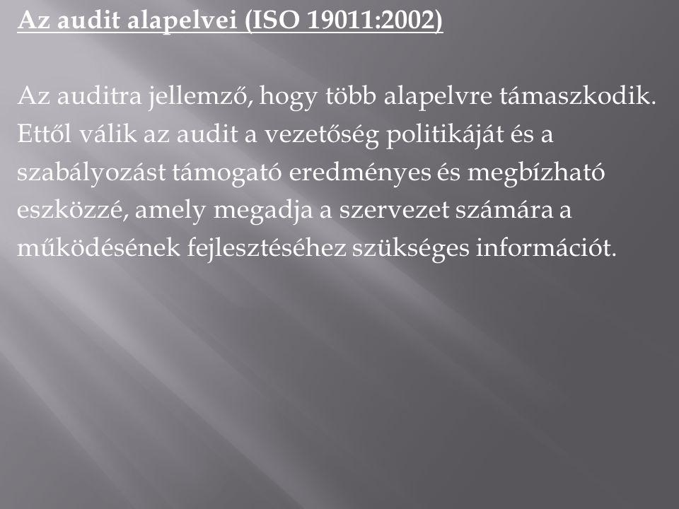 Az audit alapelvei (ISO 19011:2002) Az auditra jellemző, hogy több alapelvre támaszkodik. Ettől válik az audit a vezetőség politikáját és a szabályozá