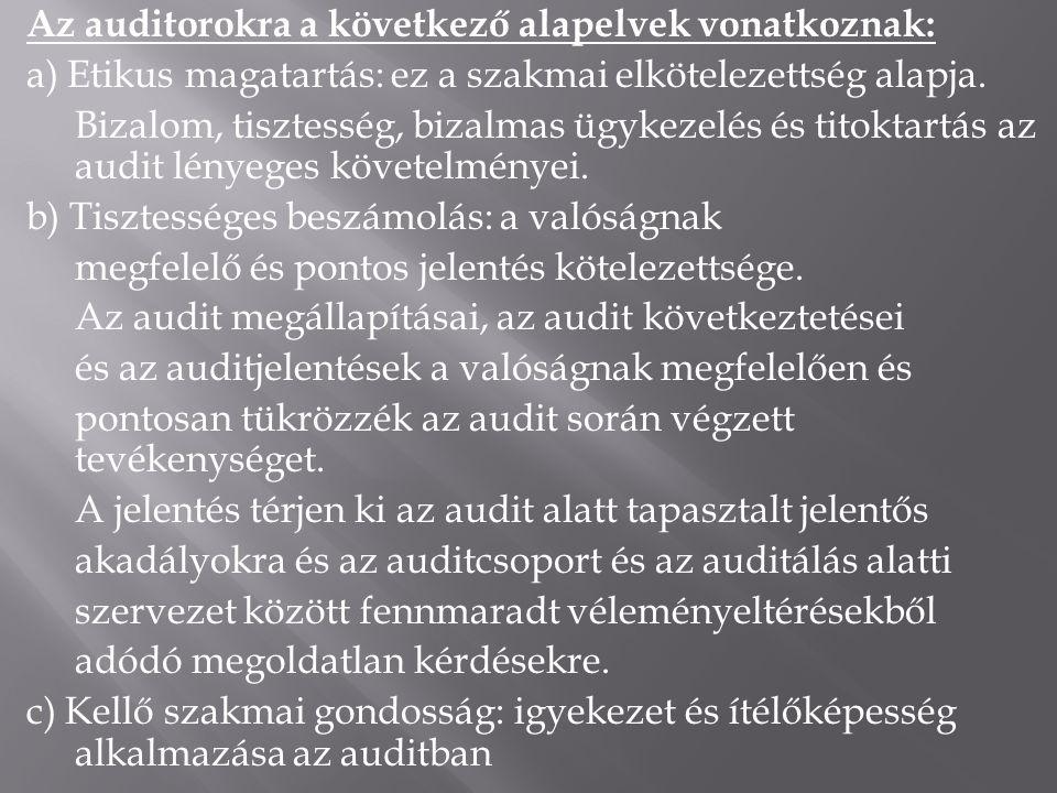 Az auditorokra a következő alapelvek vonatkoznak: a) Etikus magatartás: ez a szakmai elkötelezettség alapja. Bizalom, tisztesség, bizalmas ügykezelés