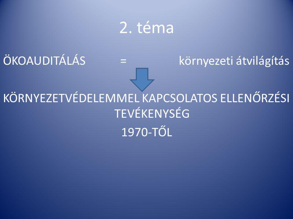 2. téma ÖKOAUDITÁLÁS=környezeti átvilágítás KÖRNYEZETVÉDELEMMEL KAPCSOLATOS ELLENŐRZÉSI TEVÉKENYSÉG 1970-TŐL