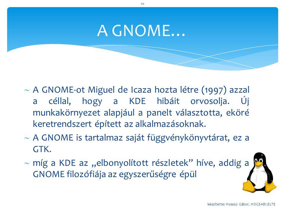  A GNOME-ot Miguel de Icaza hozta létre (1997) azzal a céllal, hogy a KDE hibáit orvosolja. Új munkakörnyezet alapjául a panelt választotta, eköré ke