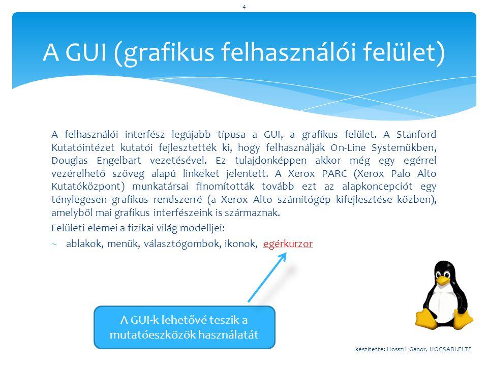 """1969 : AT&T Unix megjelenése1969-től : Unix környezetének kialakulása1970-es évek : GNU és GPL (licensz)1986 : X for Unix (UNIX GUI)Majd (1991 körül) : Linus Torvalds Linux kernelje1994 : Xfree86 (a Linux GUI-t kap)1998 : KDE 1.0 kiadása1999 : GNOME megjelenése A Linux története (""""GUI szemszögből ) készítette: Hosszú Gábor, HOGSABI.ELTE 5"""