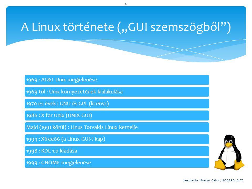 1969 : AT&T Unix megjelenése1969-től : Unix környezetének kialakulása1970-es évek : GNU és GPL (licensz)1986 : X for Unix (UNIX GUI)Majd (1991 körül)