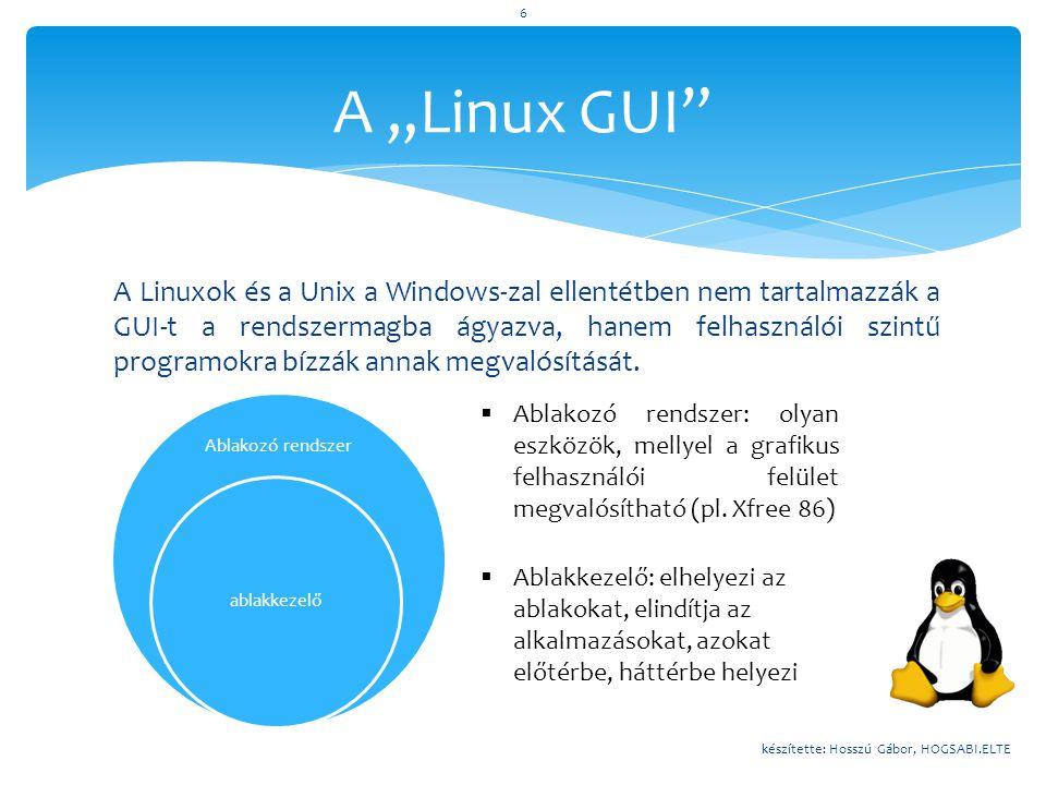  http://www.wikipedia.hu  http://www.wikipedia.org  http://www.desktoplinux.com  http://krono.inaplo.hu  http://www.ubuntu.hu  http://www.vanemery.com/Linux/XoverSSH/GUI-History.html  http://toastytech.com/guis/index.html  http://www.mimi.hu  http://www.gnome.org  http://www.kde.org  http://www.hup.hu Felhasznált irodalom készítette: Hosszú Gábor, HOGSABI.ELTE 17