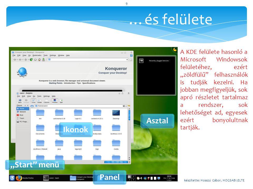 """…és felülete """"Start"""" menü Panel AsztalIkonok A KDE felülete hasonló a Microsoft Windowsok felületéhez, ezért """"zöldfülű"""" felhasználók is tudják kezelni"""