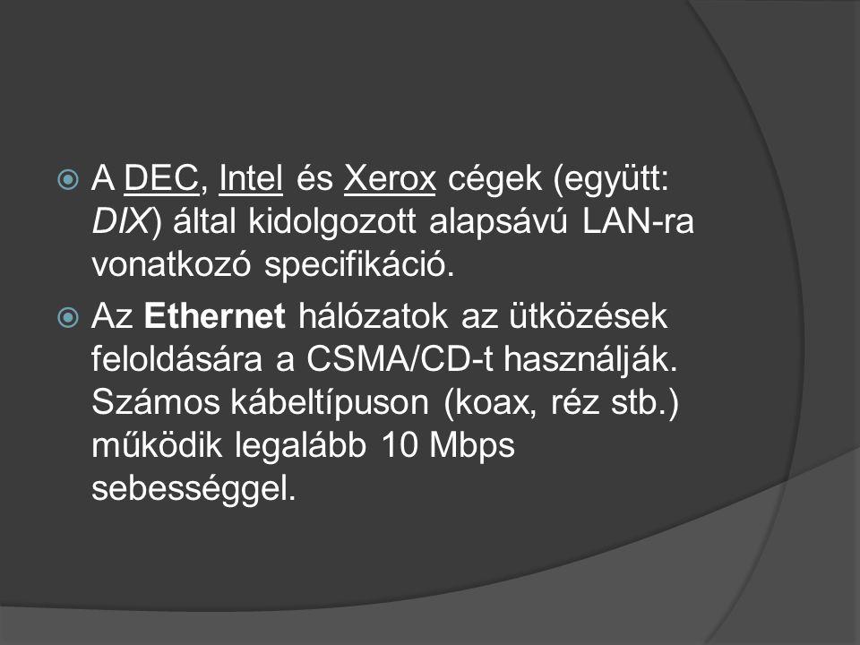  A DEC, Intel és Xerox cégek (együtt: DIX) által kidolgozott alapsávú LAN-ra vonatkozó specifikáció.  Az Ethernet hálózatok az ütközések feloldására