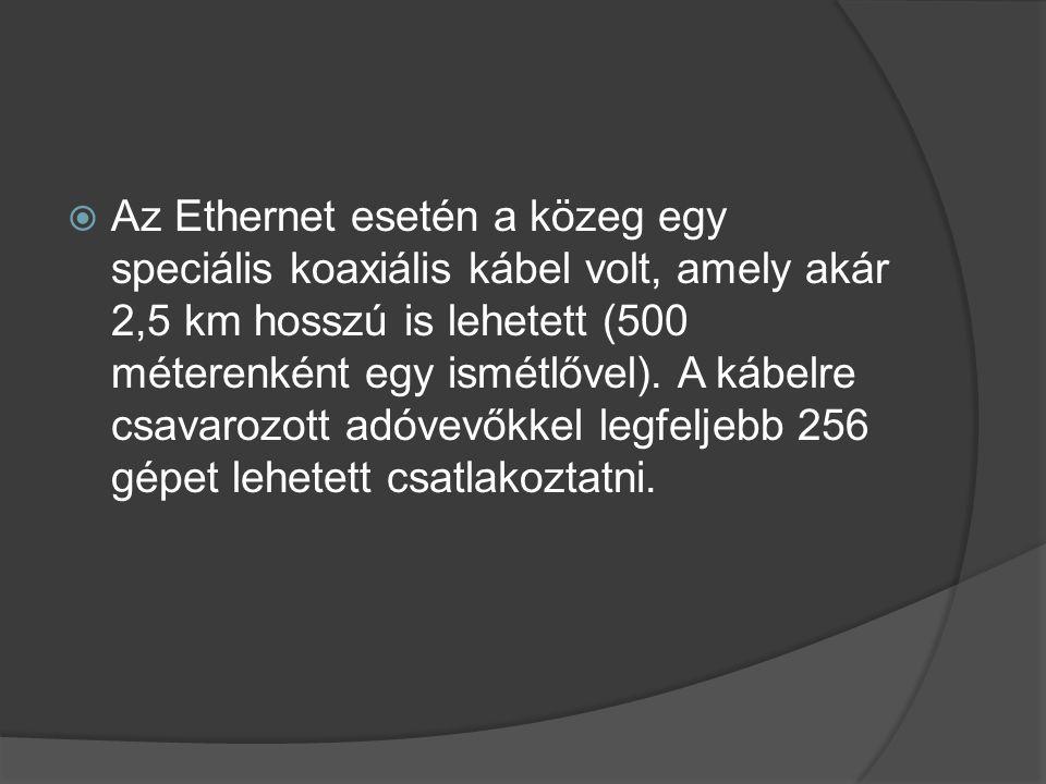  Az Ethernet esetén a közeg egy speciális koaxiális kábel volt, amely akár 2,5 km hosszú is lehetett (500 méterenként egy ismétlővel).