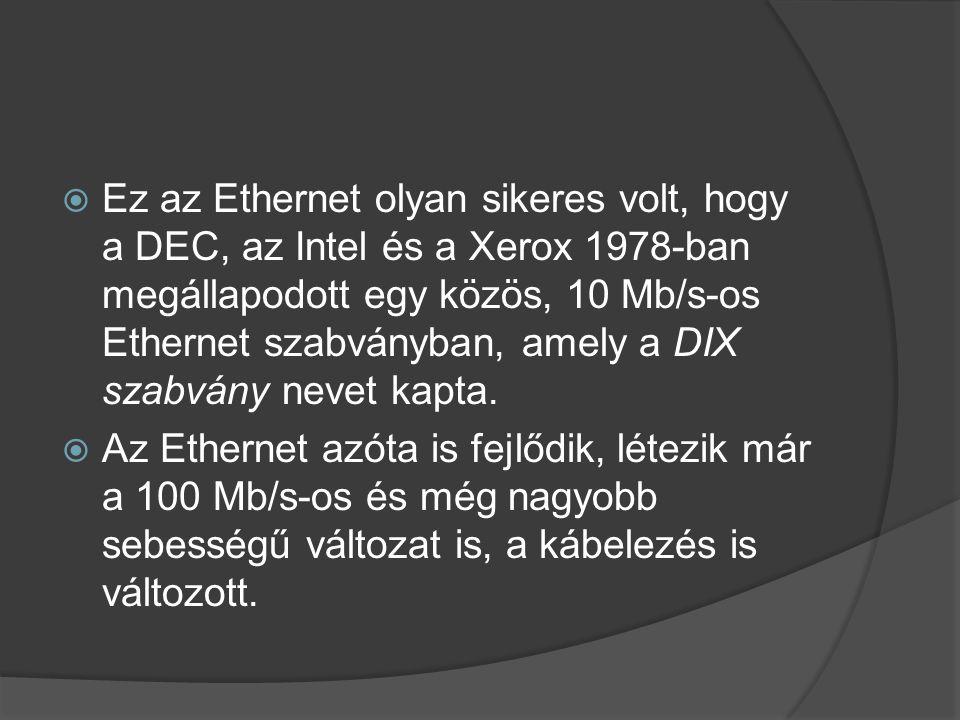  Ez az Ethernet olyan sikeres volt, hogy a DEC, az Intel és a Xerox 1978-ban megállapodott egy közös, 10 Mb/s-os Ethernet szabványban, amely a DIX szabvány nevet kapta.