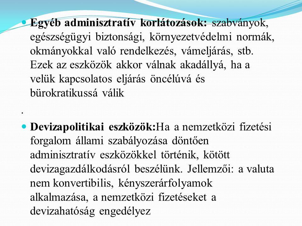 Egyéb adminisztratív korlátozások: szabványok, egészségügyi biztonsági, környezetvédelmi normák, okmányokkal való rendelkezés, vámeljárás, stb.