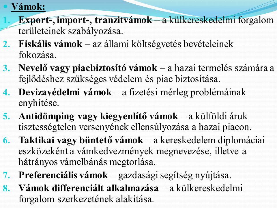Vámok: 1. Export-, import-, tranzitvámok – a külkereskedelmi forgalom területeinek szabályozása.