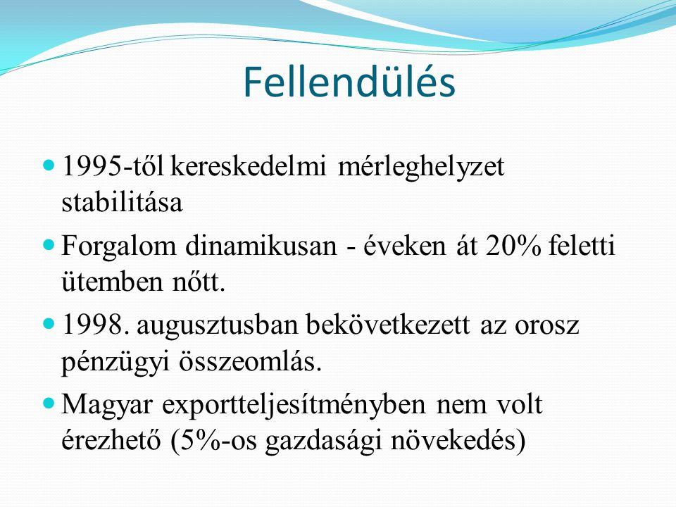 Fellendülés 1995-től kereskedelmi mérleghelyzet stabilitása Forgalom dinamikusan - éveken át 20% feletti ütemben nőtt.