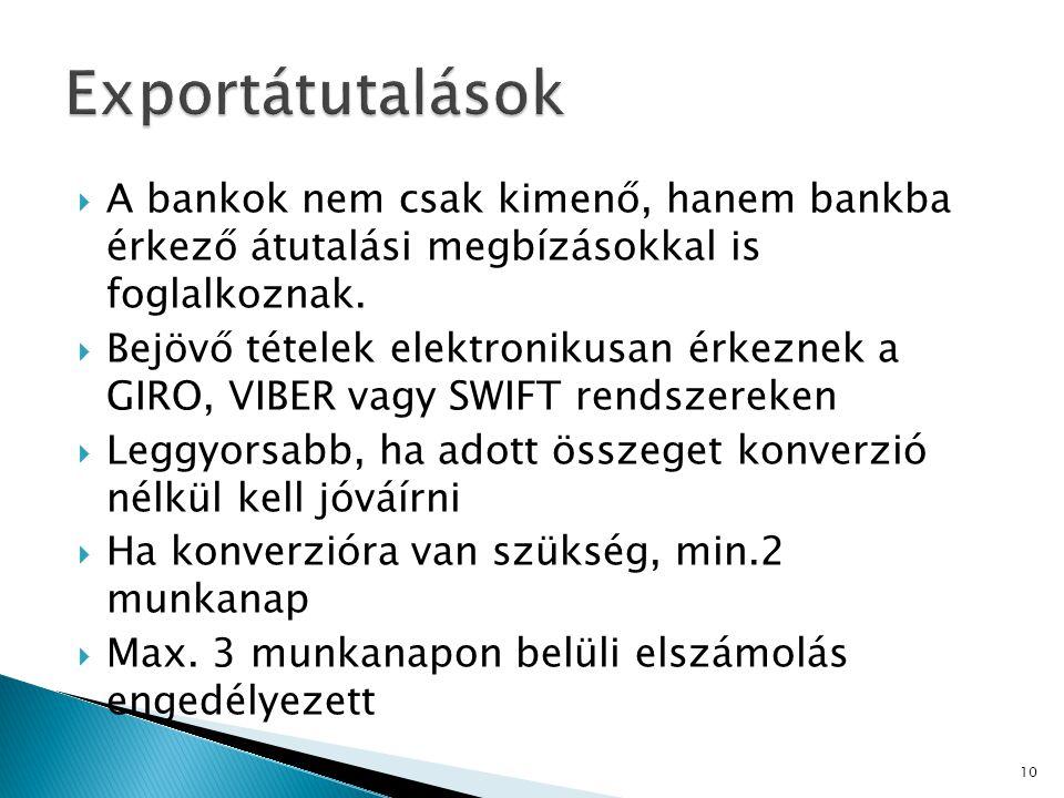  A bankok nem csak kimenő, hanem bankba érkező átutalási megbízásokkal is foglalkoznak.