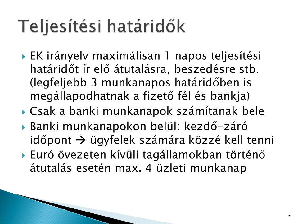 EK irányelv maximálisan 1 napos teljesítési határidőt ír elő átutalásra, beszedésre stb.