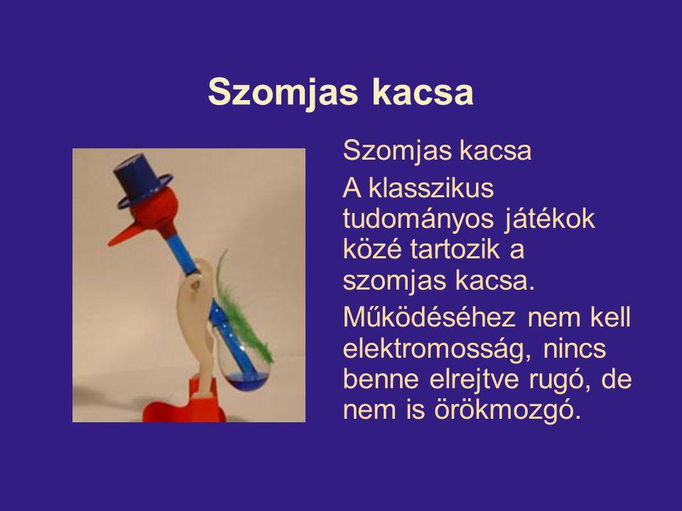 Szomjas kacsa A klasszikus tudományos játékok közé tartozik a szomjas kacsa. Működéséhez nem kell elektromosság, nincs benne elrejtve rugó, de nem is