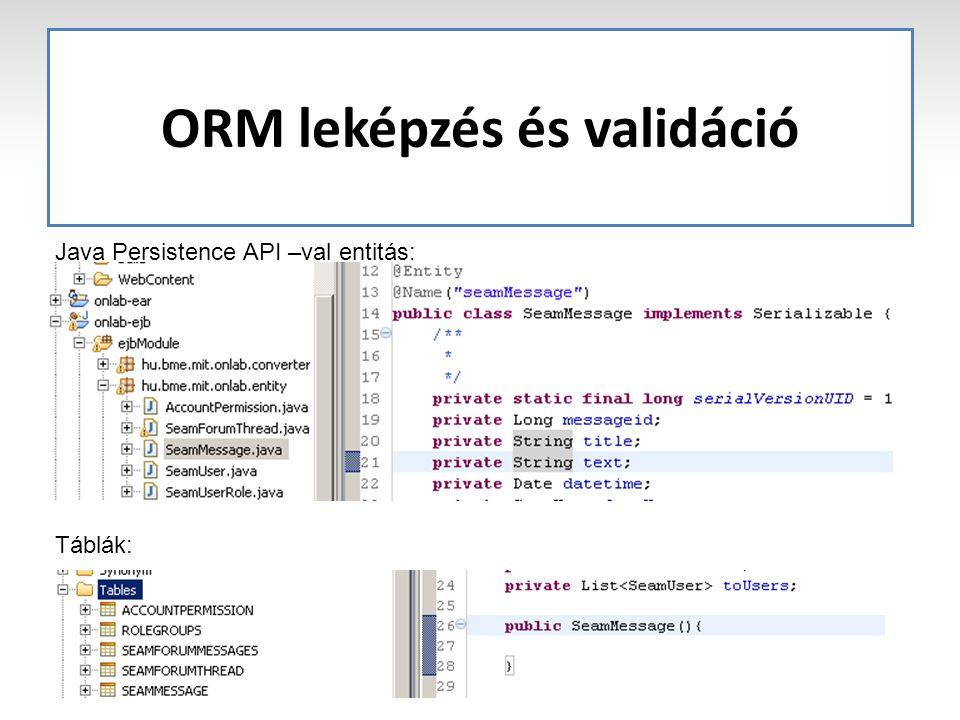 ORM leképzés és validáció Java Persistence API –val entitás: Táblák:
