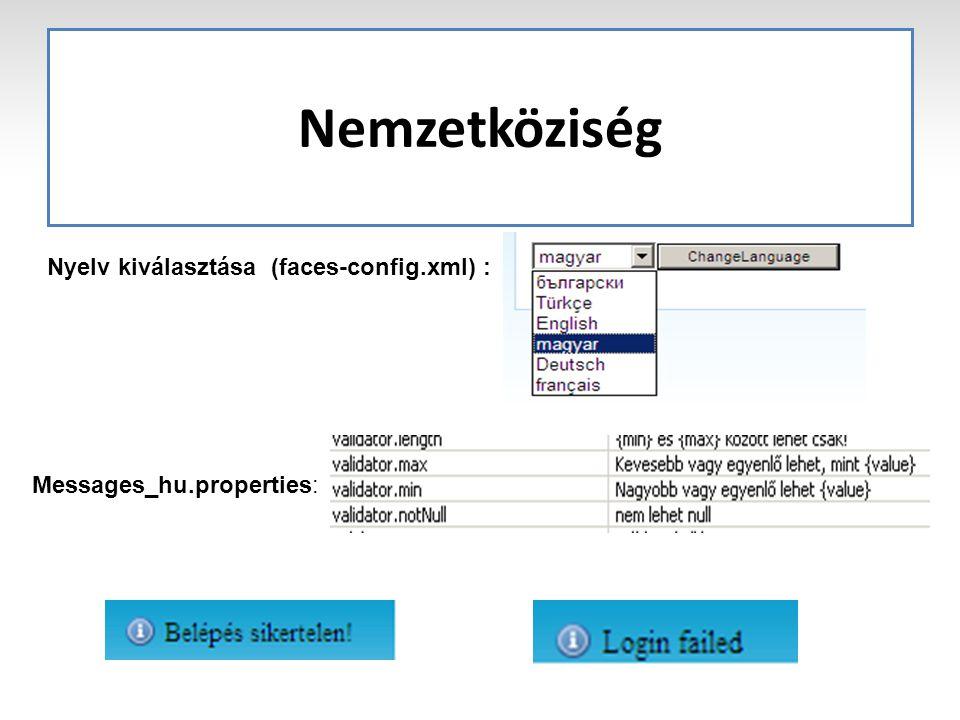 Nemzetköziség Nyelv kiválasztása (faces-config.xml) : Messages_hu.properties: