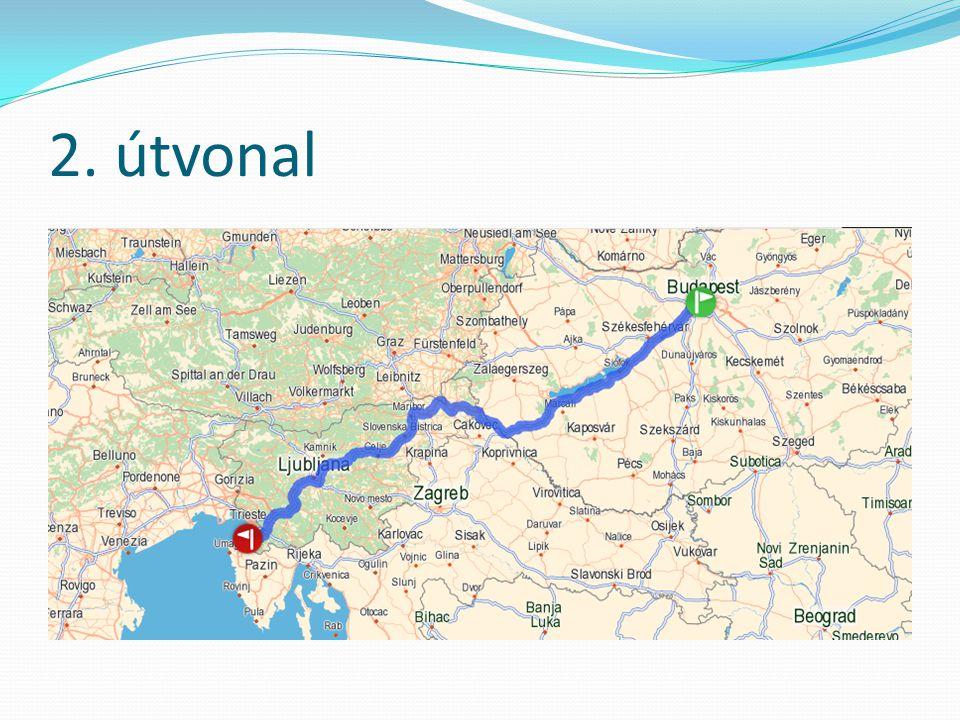 Útvonalak összehasonlítása Idő(óra:perc)Hossz (km)EU-n belüli?Benzinköltsé g (Euro)** 1.Útvonal7:53584 (511*)Nem220,99 2.Útvonal7:58579 (510*)Igen219,02 * Autópályán megtett kilométerek ** 1 Euro/literes áron