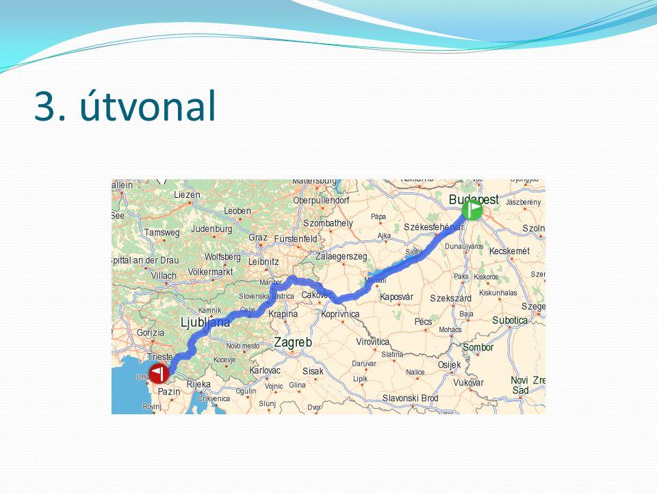Útvonalak összehasonlítása Idő(óra:perc)Hossz (km)EU-n belüli?Benzinköltsé g (Euro)** 1.Útvonal7:53584 (511*)Nem220,99 2.Útvonal7:58579 (510*)Igen219,02 3.Útvonal9:09568 (242*)Igen215,04 * Autópályán megtett kilométerek ** 1 Euro/literes áron