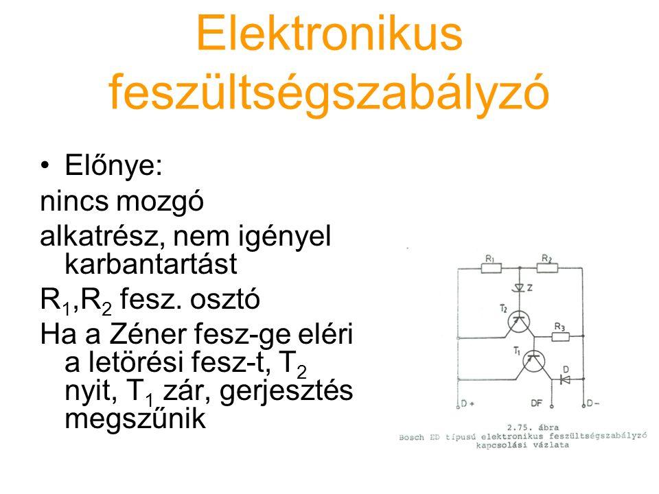 Elektronikus feszültségszabályzó Előnye: nincs mozgó alkatrész, nem igényel karbantartást R 1,R 2 fesz. osztó Ha a Zéner fesz-ge eléri a letörési fesz