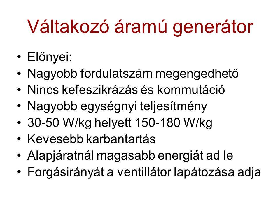 Váltakozó áramú generátor Előnyei: Nagyobb fordulatszám megengedhető Nincs kefeszikrázás és kommutáció Nagyobb egységnyi teljesítmény 30-50 W/kg helye