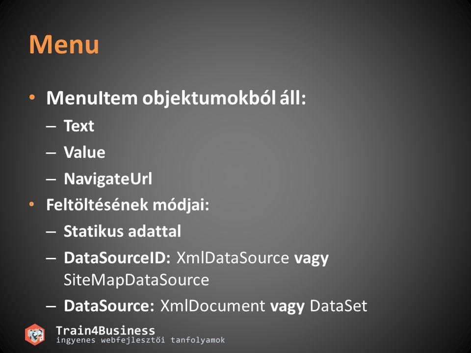 Web Szerver vezérlő dinamikus létrehozása Példa: protected void Page_Init(object sender, System.EventArgs e){ TextBox c = new TextBox(); c.ID = txtUserName ; c.Visible = true; form1.Controls.Add(c)); } Nem lehet ID alapján hivatkozni rá.