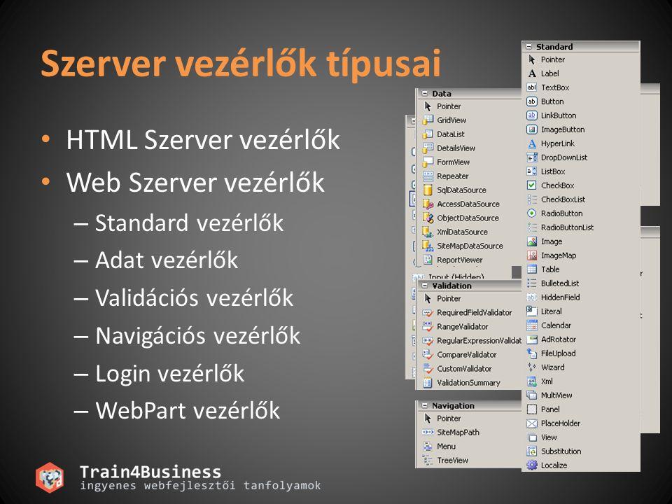 HTML vezérlők Alapértelmezés szerint szerver oldali kódból NEM elérhetők.