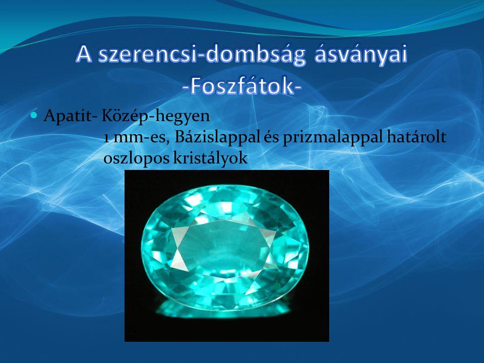Apatit- Közép-hegyen 1 mm-es, Bázislappal és prizmalappal határolt oszlopos kristályok