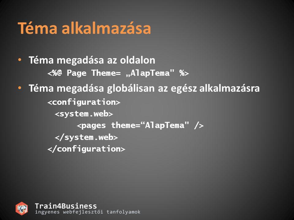 Téma alkalmazása Téma megadása az oldalon Téma megadása globálisan az egész alkalmazásra