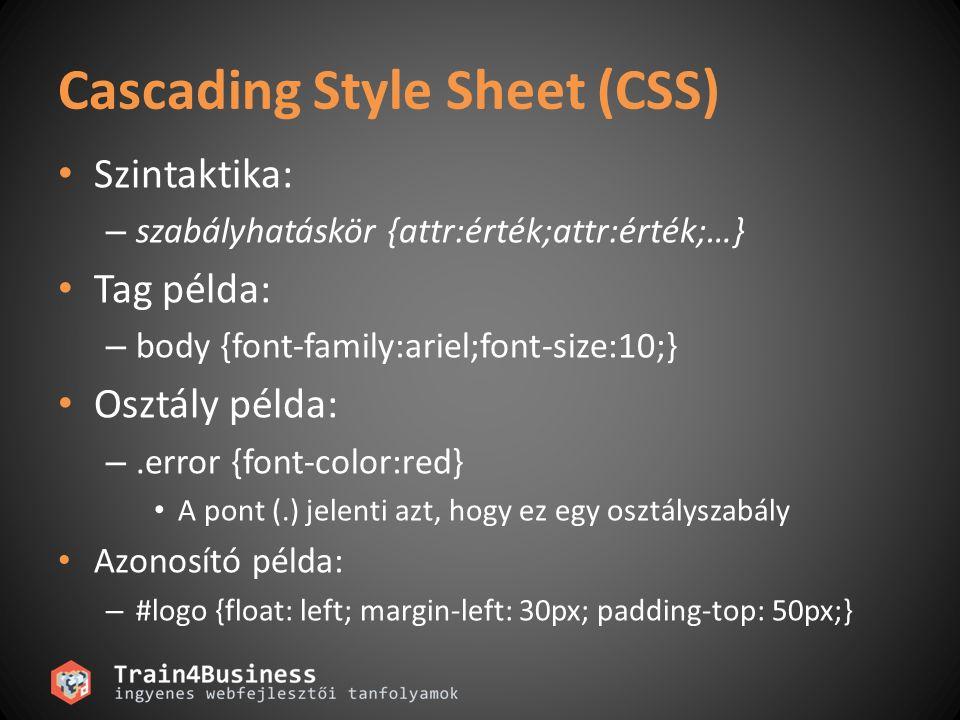 Cascading Style Sheet (CSS) Szintaktika: – szabályhatáskör {attr:érték;attr:érték;…} Tag példa: – body {font-family:ariel;font-size:10;} Osztály példa