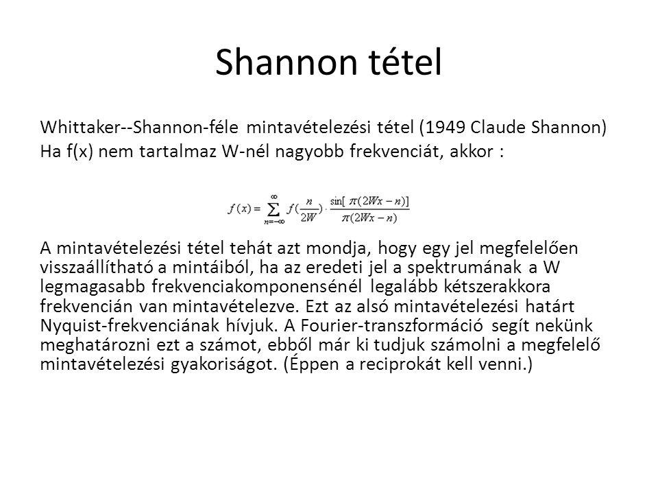 Shannon tétel Whittaker--Shannon-féle mintavételezési tétel (1949 Claude Shannon) Ha f(x) nem tartalmaz W-nél nagyobb frekvenciát, akkor : A mintavéte